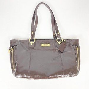 Coach Patent Leather Gallery Tote Bag Mahogany